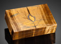 "Lapidary Art:Boxes, ""CANDLE FLAME"" TIGER'S EYE BOX. Handcrafted in Italy.Stone Source: South Africa. ..."