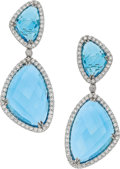 Estate Jewelry:Earrings, Eli Frei Topaz, Diamond, White Gold Earrings. ...