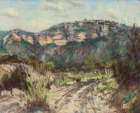 JESSIE DAVIS (American, 1887-1969) Ray Davis Ranch, Brackettville, Texas, circa 1950s Pastel on pape