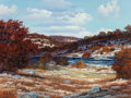 Texas:Early Texas Art - Regionalists, WILLIAM A. SLAUGHTER (American, 1923-2003). Texas Caliche RiverBed in the Fall, circa 1980. Oil on canvas. 30 x 40 inch...