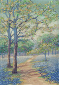 Texas:Early Texas Art - Regionalists, JANET DOWNIE (1854-1944). Trees & Bluebonnets from RidgeTop, Austin, Texas. Oil on canvas laid on board. 10 x 7 inches...