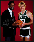 Basketball Collectibles:Photos, Bill Russell and Larry Bird Signed Oversized Photograph....