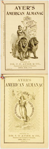 Books:Art & Architecture, [Almanac]. Pair of Ayer's American Almanacs. Lowell: J.C. Ayer, 1894, 1896. Original wrappers. Some soiling and edgewear. V... (Total: 2 Items)