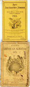 Books:Americana & American History, [Almanac]. Pair of Ayer's American Almanacs. Lowell: J.C. Ayer,1864, 1872. One German version. Original wrappers. Some soil...(Total: 2 Items)