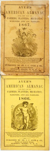 Books:Americana & American History, [Almanac]. Pair of Ayer's American Almanacs. Lowell: J.C. Ayer,1866, 1867. Original wrappers. Some soiling. Very good. . ...(Total: 2 Items)