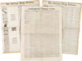Miscellaneous:Ephemera, [James Garfield]. Three Newspapers...