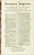 Books:Periodicals, [Slavery]. [Periodical]. The European Magazine, and LondonReview; for February, 1788. London: J. Sewell, 1788. Twel...