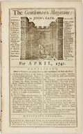 Books:Periodicals, [Slavery]. [Periodical]. The Gentleman's Magazine; For April,1741. London: E. Cave, 1941. Twelvemo. Contains an art...