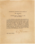 Autographs:U.S. Presidents, Harry Truman Typed Citation Signed and Photograph....