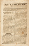 Books:Periodicals, [Slavery]. [Periodical]. Niles' Weekly Register, No.1, Vol.X. Saturday, March 2nd, 1816. Baltimore: H. Niles, 1...