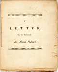 Books:Religion & Theology, Wolcott, Roger: A LETTER TO THE REVEREND MR. NOAH HOBART. [Boston: Printed by Green & Russell, 1761]. 24pp, half title, stit...