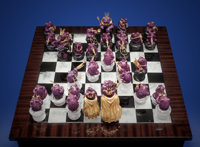 "RUBY CHESS SET: ""THE FROG PRINCE"" Artist: Luis Alberto Quispe Stone Source: Tanzania, Russia &"