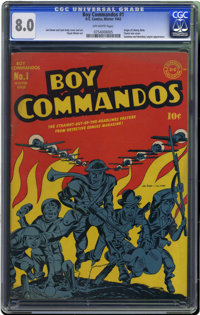 "Boy Commandos #1 (DC, 1942) CGC VF 8.0 Off-white pages. ""The Commandos are coming"" was the battle cry of these..."