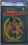 Golden Age (1938-1955):War, Boy Commandos #8 (DC, 1944) CGC FN+ 6.5 Off-white to white pages.Simon and Kirby cover. Overstreet 2006 FN 6.0 value = $162...