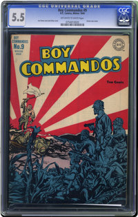 Boy Commandos #9 (DC, 1944) CGC FN- 5.5 Off-white to white pages. Simon and Kirby cover. Overstreet 2006 FN 6.0 value =...