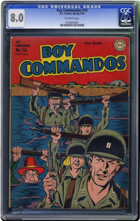 Boy Commandos #10 (DC, 1945) CGC VF 8.0 Off-white pages. World War II cover. Overstreet 2006 VF 8.0 value = $329. CGC ce...