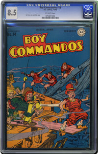 Boy Commandos #14 (DC, 1946) CGC VF+ 8.5 Off-white pages. Where has this issue (with a great underwater cover) been hidi...