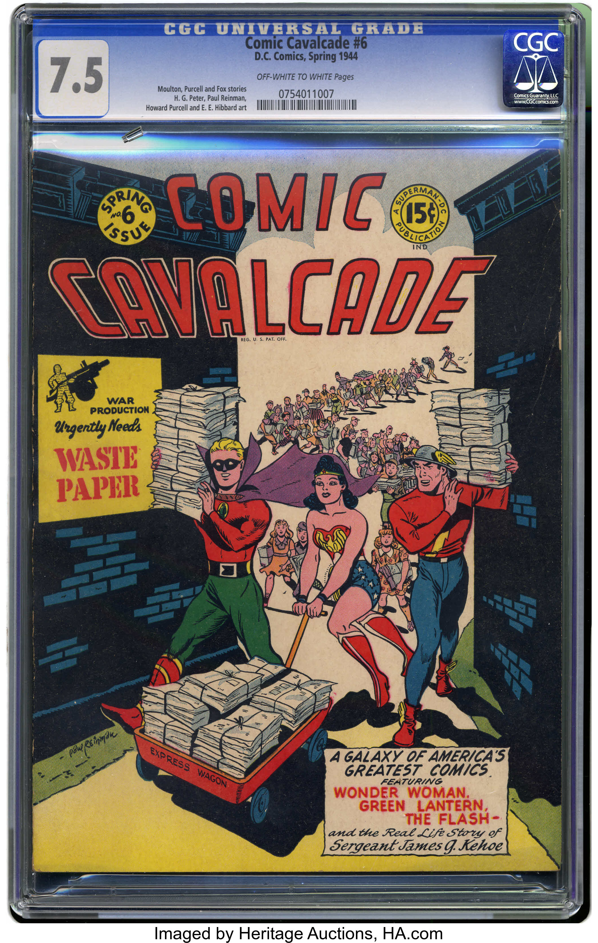 Comic Cavalcade #6 (DC, 1944) CGC VF- 7 5 Off-white to white pages