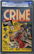 Golden Age (1938-1955):Crime, Crime Does Not Pay #24 (Lev Gleason, 1942) CGC FN/VF 7.0 Off-white to white pages. This third issue of the title is one of t...