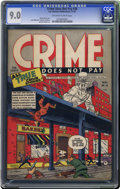 Golden Age (1938-1955):Crime, Crime Does Not Pay #30 (Lev Gleason, 1943) CGC VF/NM 9.0 Off-white to white pages. No copy of this early issue has been grad...