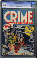 Golden Age (1938-1955):Crime, Crime Does Not Pay #33 (Lev Gleason, 1942) CGC VF/NM 9.0 Off-white pages. The most famous cover of this title's run makes th...