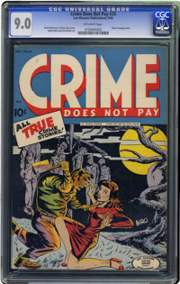 Crime Does Not Pay #33 (Lev Gleason, 1942) CGC VF/NM 9.0 Off-white pages. The most famous cover of this title's run make...