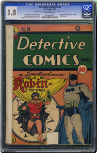 Detective Comics #38 (DC, 1940) CGC GD- 1.8 Off-white pages. Sure, we'd love a VF or NM copy of the origin and first app...