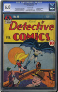 """Golden Age (1938-1955):Superhero, Detective Comics #48 (DC, 1941) CGC FN 6.0 Off-white pages. The first use of the word """"Batmobile"""" was right here in this iss..."""