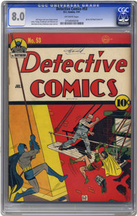 Detective Comics #53 (DC, 1941) CGC VF 8.0 Off-white pages. Bob Kane and Jerry Robinson teamed up on both cover and inte...