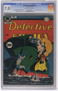 Detective Comics #58 (DC, 1941) CGC FN/VF 7.0 Cream to off-white pages. The Penguin waddled into his first appearance he...