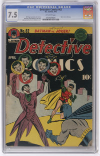 """Detective Comics #62 (DC, 1942) CGC VF- 7.5 Off-white pages. Is this the first """"real"""" Joker cover? You could c..."""