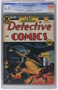 Detective Comics #64 (DC, 1942) CGC FN+ 6.5 Off-white to white pages. Simon and Kirby's Boy Commandos made their first a...