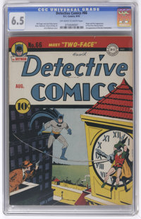 Detective Comics #66 (DC, 1942) CGC FN+ 6.5 Off-white to white pages. Two-Face, one of the most inspired villains in all...