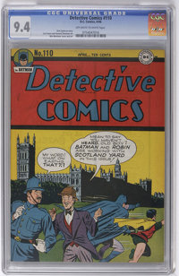 Detective Comics #110 (DC, 1946) CGC NM 9.4 Off-white to white pages. We were doubly pleased to spot this copy in Harold...