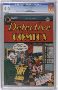 Detective Comics #112 (DC, 1946) CGC VF/NM 9.0 Off-white to white pages. In this issue's baffler, 99 dollars are missing...
