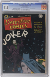 Detective Comics #114 (DC, 1946) CGC VF- 7.5 Off-white to white pages. This is a mighty fine copy of a black cover issue...