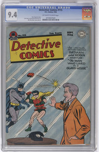 Detective Comics #115 (DC, 1946) CGC NM 9.4 Off-white to white pages. Not only is this original-owner copy a rock-solid...