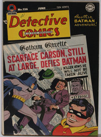 Detective Comics #136 (DC, 1948) Condition: VF+. A very slight overhang prevented CGC from encapsulating this copy -- to...