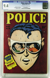Police Comics #30 (Quality, 1944) CGC NM 9.4 Off-white to white pages. To date, only the Mile High copy of this issue ha...