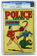 Golden Age (1938-1955):Science Fiction, Police Comics #41 (Quality, 1945) CGC VF- 7.5 Cream to off-whitepages. Jack Cole cover. Plastic Man by Cole. The Spirit by ...