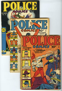 Police Comics Group (Quality, 1941-46) Condition: Average FR/GD. Included here are #3, 8 (first appearance of Manhunter)...