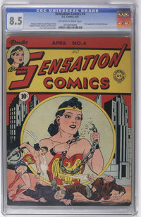 Sensation Comics #4 (DC, 1942) CGC VF+ 8.5 Off-white to white pages. This is the nicest copy in CGC's census by a health...