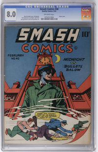 Smash Comics #40 (Quality, 1943) CGC VF 8.0 Off-white pages. Reed Crandall cover. Jack Cole and Joe Kubert art. Overstre...