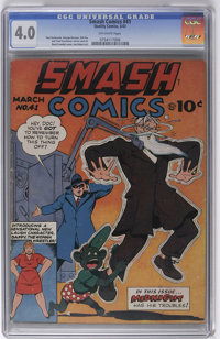 Smash Comics #41 (Quality, 1943) CGC VG 4.0 Off-white pages. Gill Fox, Joe Kubert, and Paul Gustavson art. Overstreet 20...