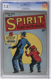 The Spirit #4 (Quality, 1946) CGC VF- 7.5 Cream to off-white pages. Lou Fine cover. Overstreet 2006 VF 8.0 value = $184...