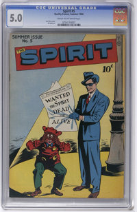 The Spirit #5 (Quality, 1946) CGC VG/FN 5.0 Cream to off-white pages. Lou Fine cover. Overstreet 2006 VG 4.0 value = $64...