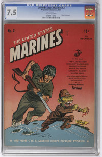 United States Marines #2 (Magazine Enterprises, 1944) CGC VF- 7.5 Off-white pages. A Tojo cover that Overstreet calls &q...