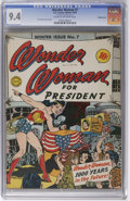 Golden Age (1938-1955):Superhero, Wonder Woman #7 Double Cover (DC, 1943) CGC NM 9.4 Cream to off-white pages. This is one of the harder issues of this series...