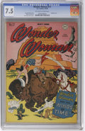 Golden Age (1938-1955):Superhero, Wonder Woman #17 (DC, 1946) CGC VF- 7.5 Off-white to white pages. Time-travel is on tap for Wonder Woman in this issue, illu...