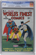 Golden Age (1938-1955):Superhero, World's Finest Comics #3 (DC, 1941) CGC VF- 7.5 Off-white pages. A 7.5 copy is quite impressive for this particular square b...